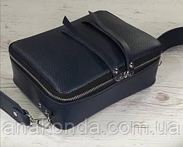 64-р Натуральная кожа Сумка женская через плечо Кожаная сумка с широким ремнем Сумка кросс-боди кожаная синяя, фото 3