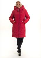 Женский пуховик зимний молодежный на молнии с капюшоном большого размера 44-56 р цвет красный