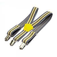 Детские подтяжки Gofin полосатые Серые с бело-желтым Pbd-089, КОД: 189687