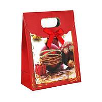 Сумочка подарочная Gift Bag Velcro Бумага Елочные игрушки с золотом 16x12x6 см 20841, КОД: 1347515