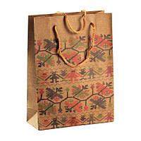 Сумочка подарочная Gift Bag Native Рушнык Украинская Вышивка Бумага 20х15х6 см Натуральный 13647, КОД: 1347578