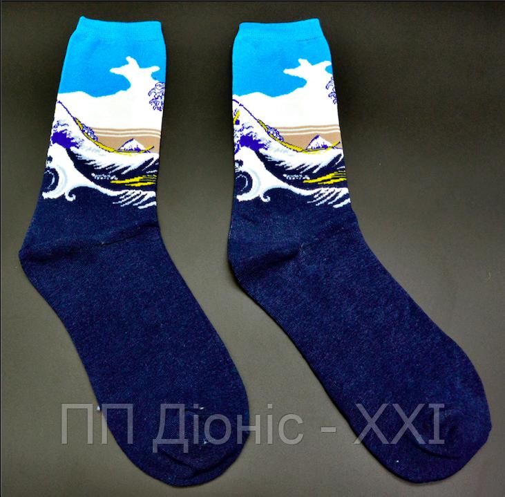 Крутые носки Большая волна в Канагаве Hot Sox Кацусики Хокусая