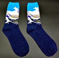 Крутые носки Большая волна в Канагаве Hot Sox Кацусики Хокусая, фото 1