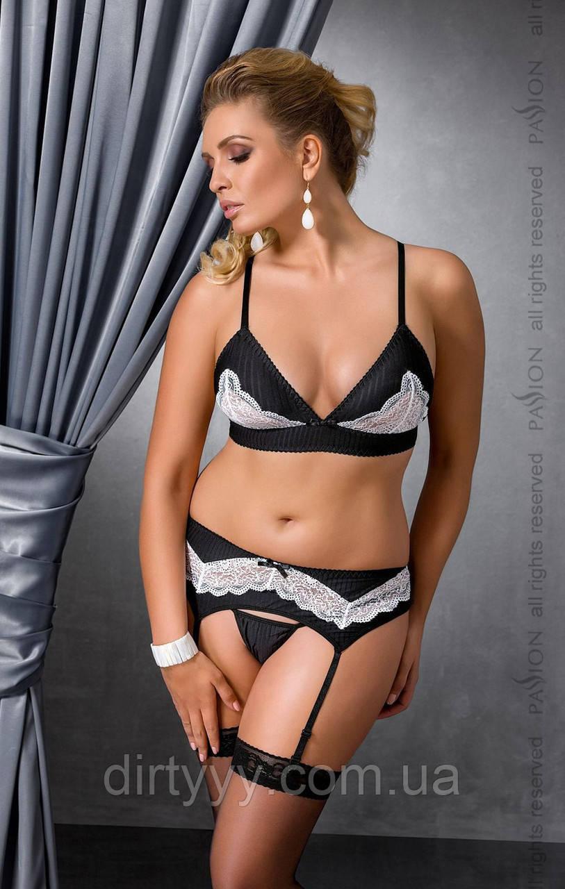 Эротический комплект - CAMILLE SET black, цвет: черно-белый