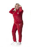 Женский спортивный повседневный костюм велюровый с капюшоном 7473 Zeta-m красный