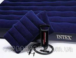 Матрас +2 подушки + насос 152х203х22см. INTEX 68765