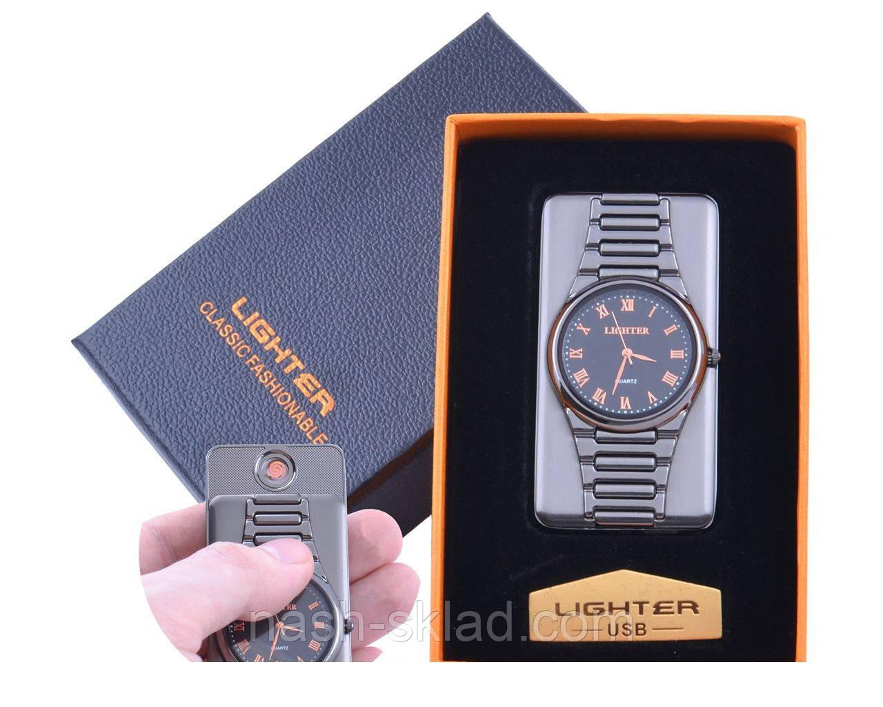 USB зажигалка с часами Черное золото  в подарочной упаковке LIGHTER (Cпираль накаливания)