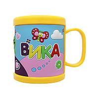 Детская кружка BeHappy 3D с именем Вика 300 мл Желтый ДК031, КОД: 1346241