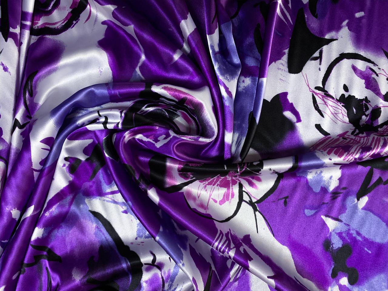 Атлас стрейчевый крупные цветы, сиреневый