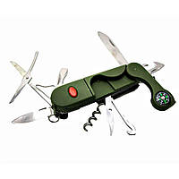 Складной карманный нож STINGER 14 в 1 Зеленый DN18890, КОД: 285108