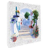 Декупаж на полотне Идейка Пейзаж Греческий проулок 25 х 20 см Разноцветный 94703, КОД: 1318899