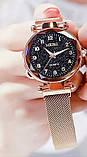Женские наручные часы на магнитном браслете в золотом цвете, фото 3