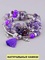 Браслет Аметист, Агат 60 см. - женский браслет из натуральных камней 'FJ', фото 1