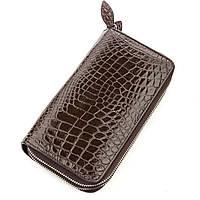 Клатч мужской Crocodile Leather 18568 из натуральной кожи крокодила Коричневый, КОД: 1325664