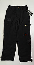 Штани на хлопчика з плащової тканини на флісі арт 0011 чорні 140-160