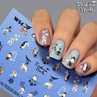 Новогодние наклейки для ногтей - Слайдер -дизайн Новый год,Олени, Пингвин, Белый медведь, Заяц Лисица Птичка