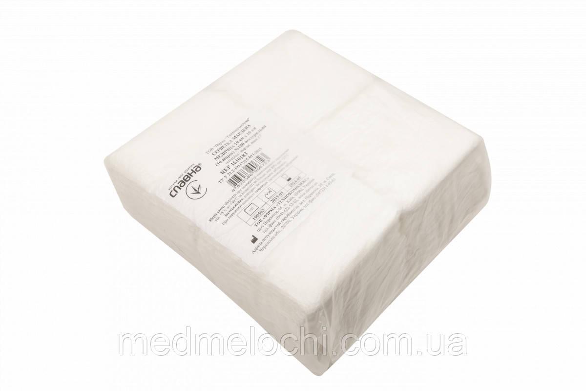 Серветка марлева нестерильна 10 х 10 см, 16 шарів, 100 шт/уп