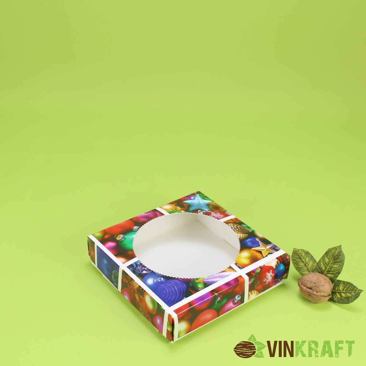 """Коробка 150*150*35 для пряника, подарунка з вікном, """"Ялинкові прикраси"""""""