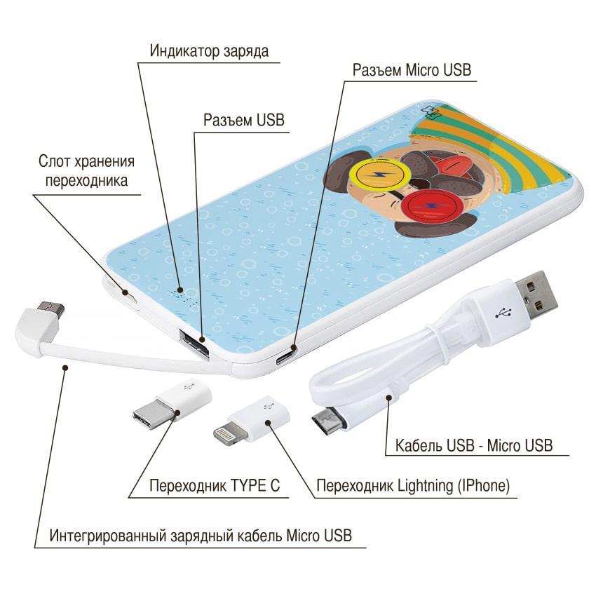 Мобильное зарядное устройство Веселый Монстр, 5000 мАч (E505-15)