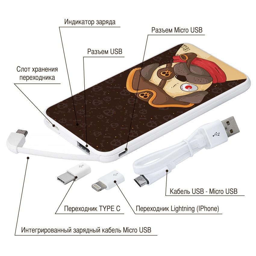 Портативная батарея Мопс-пират, 5000 мАч (E505-29)