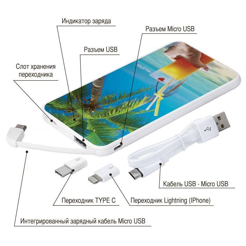 Универсальный аккумулятор с принтом Мальдивы, 5000 мАч (E505-33)