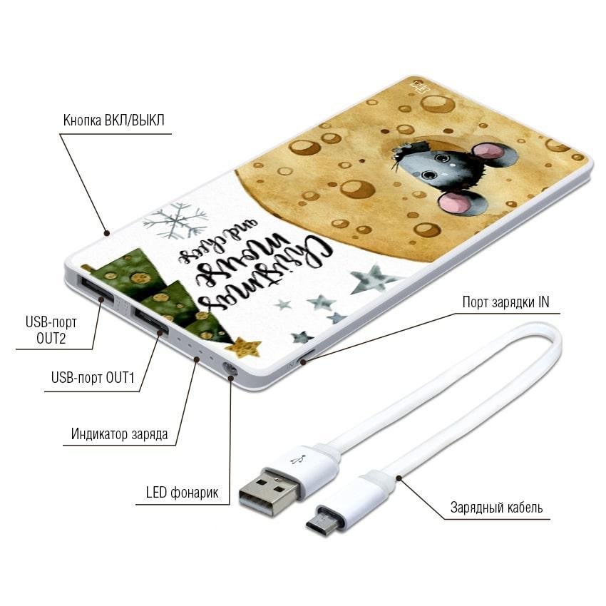 Портативная мобильная батарея Новогодний сыр, 7500 мАч (E189-45)