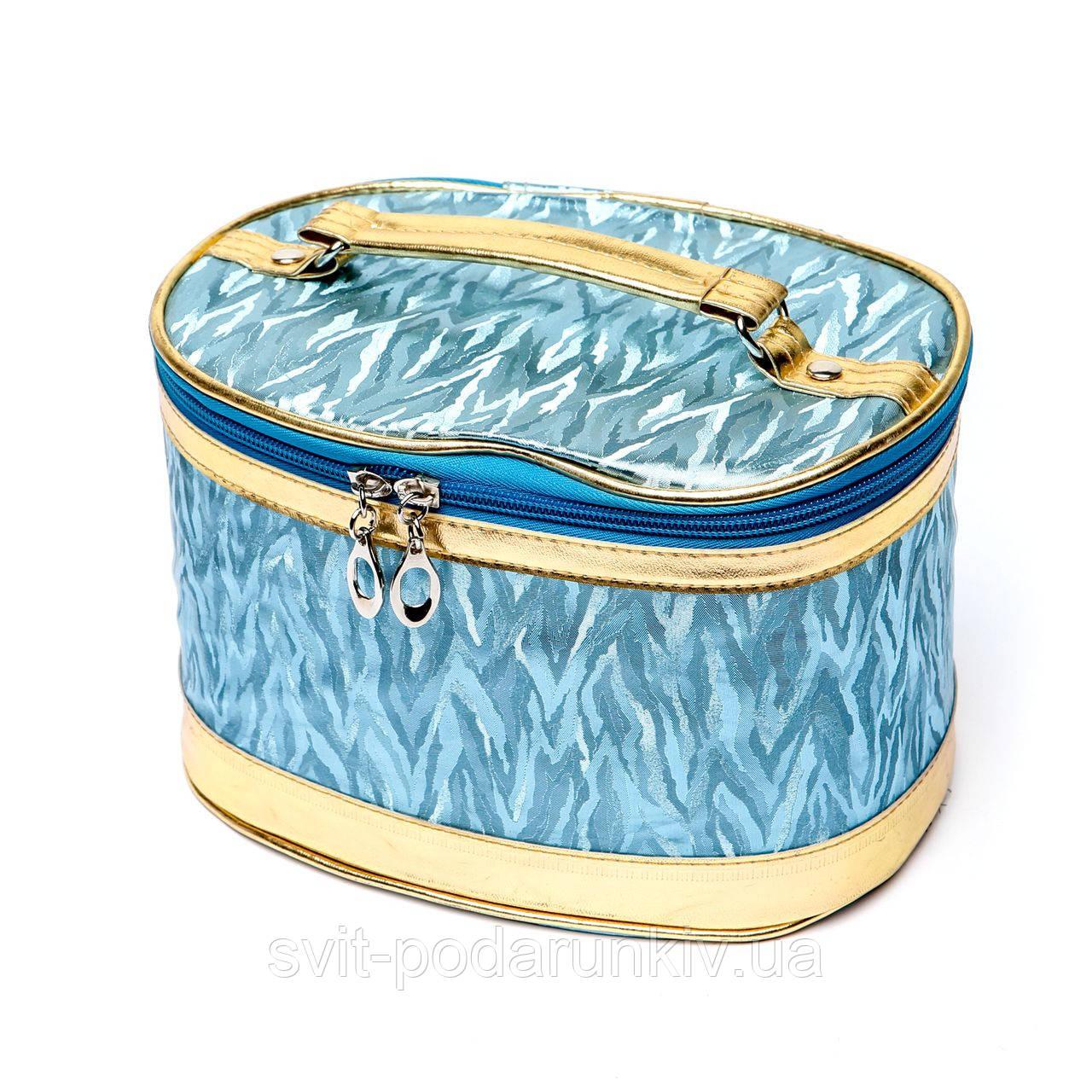 Модні косметички великі блакитні з каймою під золото 3 шт в наборі S2