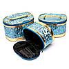 Модні косметички великі блакитні з каймою під золото 3 шт в наборі S2, фото 2