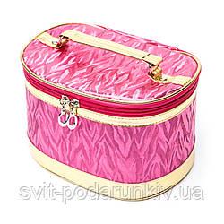 Красивые косметички женские профессиональные розовые с ручкой комплект 3 шт S2