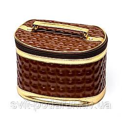 Сумка косметичка для косметики коричневая на молнии комплект 3 шт S3