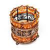 Подсвечник из бисера и металла PA-1 оранжевый ручной работы, фото 2