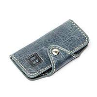 Ключница карманная из кожзаменителя №4-6 серо-синяя
