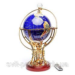 Вращающийся глобус с подсветкой из полудрагоценных камней BS220T