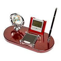 Набор офисный настольный подарочный 6097 (глобус рукопожатие, календарь, часы, визитница, ручка)