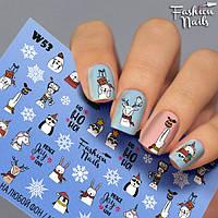 Новогодние наклейки для ногтей - Слайдер -дизайн Новый год,Дед Мороз Олени Зайчик Мультяшки Единорог Снежинка