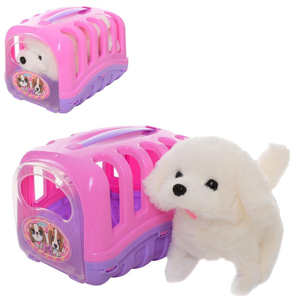 Мягкая игрушка интерактивная Собачка в переноске ходит 18 см MP 1936