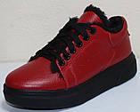Кеды красные женские зимние кожаные от производителя модель РИ0616М-2, фото 3