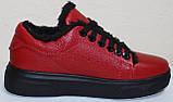 Кеды красные женские зимние кожаные от производителя модель РИ0616М-2, фото 4