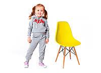 Стул детский Тауэр Вaby, пластиковый, ножки дерево бук, цвет желтый