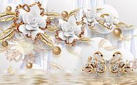 3Д Фотообои Керамические цветы с золотом разные текстуры , индивидуальный размер