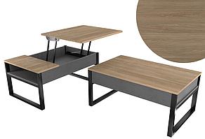 Журнальний стіл трансформер - стіл для ноутбука на кованих ножках Дуб золотой