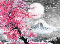 3Д Фотообои картина белая луна над розовым деревом разные текстуры , индивидуальный размер
