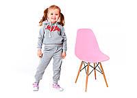 Стул детский Тауэр Вaby, пластиковый, ножки дерево бук, цвет розовый