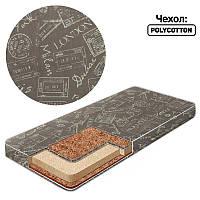 Матрас кокос - поролон - гречка - поликоттон - Печатка Бежевый - ТМ Беби-Текс - 219247