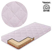 Матрас кокос - поролон - гречка, чехол хлопок Комфорт светло-Розовый ТМ Беби-Текс - 219261