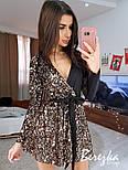 Женское комбинированное платье с пайетками с запахом на груди и поясом (в расцветках), фото 5