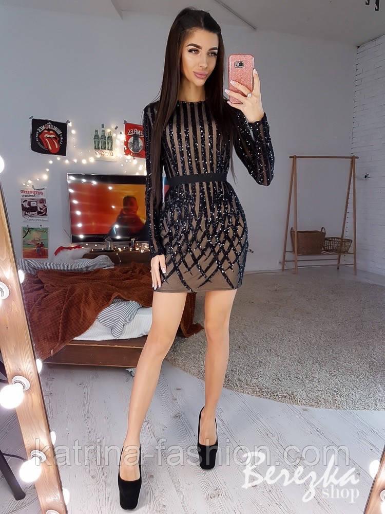 Женское платье по фигуре с пайетками