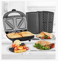 Вафельница-гриль-бутербродница 3 в 1 Grant GT 780 (Черная)