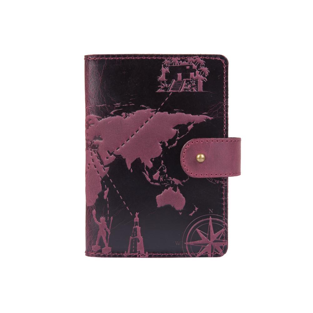 "Кожаное портмоне для паспорта / ID документов HiArt PB-02/1 Shabby Plum ""7 wonders of the world"""