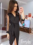 Женское платье  на запах с сеткой на рукавах звезда/горох (в расцветках), фото 3